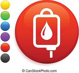 Intravenous therapy icon on round internet button original...