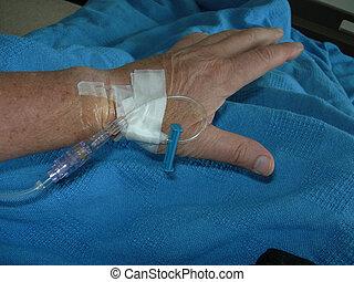 intravenous, voederen, in, pols