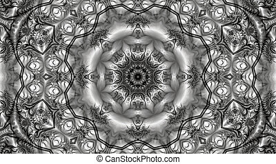 intricate abstract mandala consisting of a beautiful fractal ornament in black and white