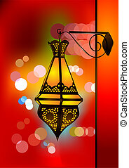 Intricate arabic lamp with beautiful lights in the ...