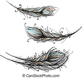 Intricate Decorative Feathers Illustration - Ornate Feathers...