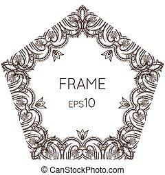 Intricate floral vector frame pentagonal