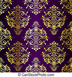 Intricate Gold on Purple seamless sari pattern