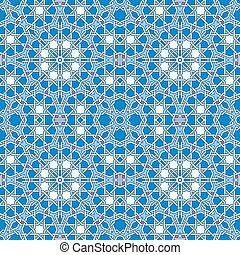 Intricate moorish eastern pattern. Seamless vector background. Plain colors - easy to recolor.