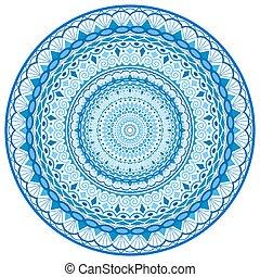 Intricate Water Mandala Round Ornam - Decorative Sea Waves...