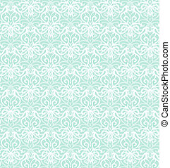 Intricate White Luxury Seamless Pattern on Blue Background
