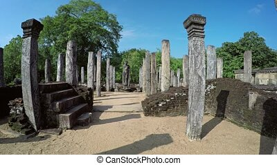 Intricately Carved Columns of Ancient Ruin in Polonnaruwa,...