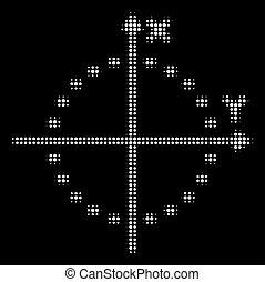 intrigue, pointillé, halftone, cercle blanc, icône