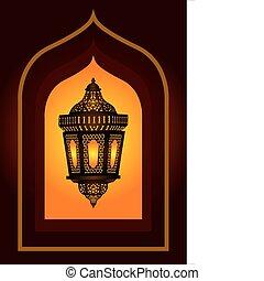 intrincado, árabe, linterna, eid, o