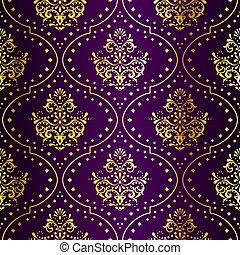 intrincado, oro, en, púrpura, seamless, sari, patrón