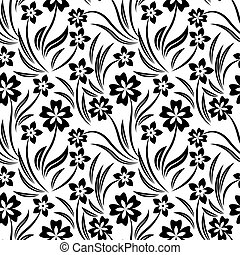 intrincado, patrón, flores blancas, negro