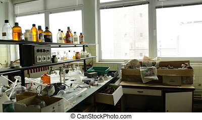 intrior, laboratoire, vieux