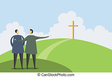 Introducing Faith - Vector illustration of one man pointing...
