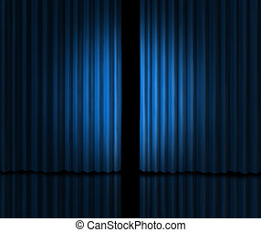 Behind The curtain as a peek into a new announcement on rumors of new products and movies or store opening with blue velvet drapes that are slightly opened to look inside private information.