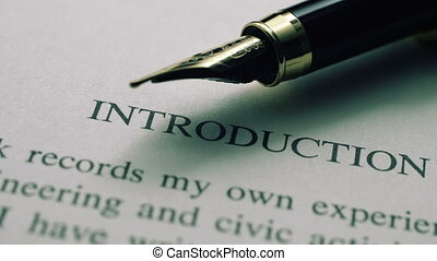 introduction, texte, stylo, fontaine