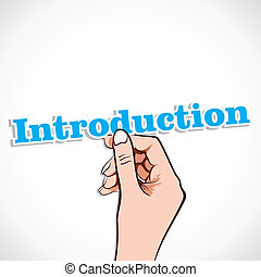Introduction word sticker in hand stock vector
