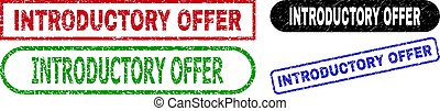 INTRODUCTORY OFFER grunge seal stamps. Flat vector grunge stamps with INTRODUCTORY OFFER message inside different rectangle and rounded shapes, in blue, red, green, black color versions.