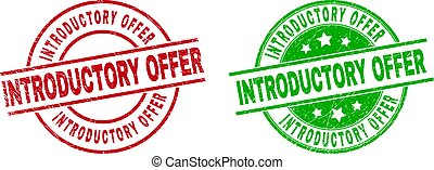 Round INTRODUCTORY OFFER seal stamps. Flat vector distress seal stamps with INTRODUCTORY OFFER text inside circle and lines, in red and green colors. Rubber imitations with distress texture.
