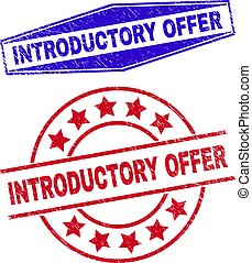 INTRODUCTORY OFFER stamps. Red circle and blue expanded hexagon INTRODUCTORY OFFER watermarks.
