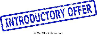 Blue INTRODUCTORY OFFER stamp seal on a white background. Flat vector distress seal stamp with INTRODUCTORY OFFER title is placed inside rounded rect frame. Imprint with distress style.