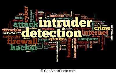 Intruder detection concept in word tag cloud on black background