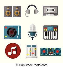 intrument, gráfico, conjunto, ilustración, equipo, vector, música