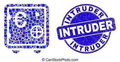 intrus, sûr, timbre, banque, bleu, gratté, euro, mosaïque