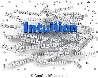 intuición, concepto, palabra, imagen, nube, 3d