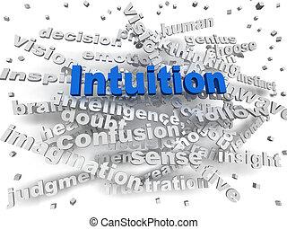 intuition, concept, mot, image, nuage, 3d