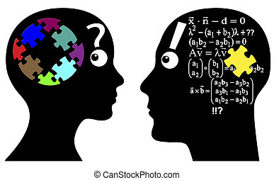 Intuition or Calculation - Man and woman solve problems...