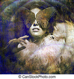 Woman with bird wing blindfold. Photo based illustration.