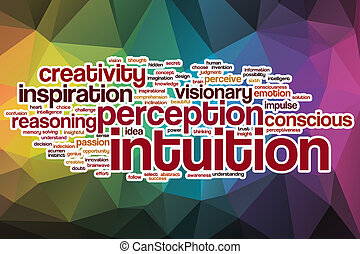 Intuition word cloud with abstract background