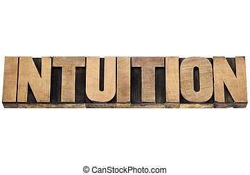 intuition word in wood type