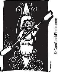 Inuit Kayak - Woodcut style image of a Inuit Eskimo style...