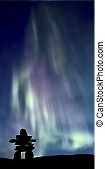 Inukshuk and Northern Lights Saskatchewan Canada colorful