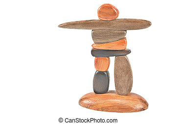 Inukshuk statue isolated on white