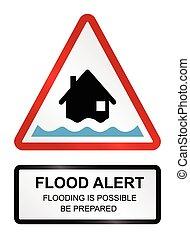 inundação, aviso, alerta