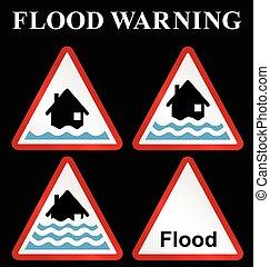 inundação, aviso, cobrança, sinal