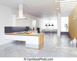 inundação, cozinha