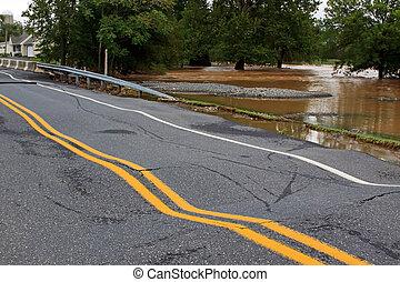 inundação, danificado, estrada