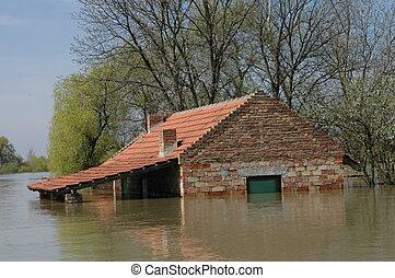 inundação, desastre, devido