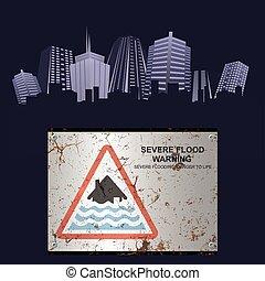 inundação, severo, cidade, aviso, enferrujado, sinal