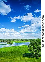 inundação, vista, campo, primavera