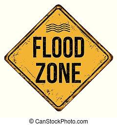 inundação, zona, vindima, metal enferrujado, sinal