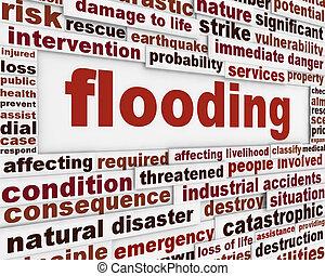 inundación, advertencia, mensaje