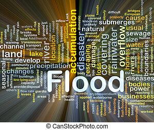 inundación, encendido, concepto, plano de fondo