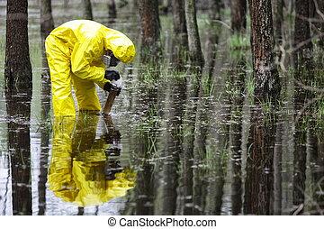 inundaciones, área, contaminado