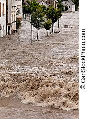 inundado, área residencial