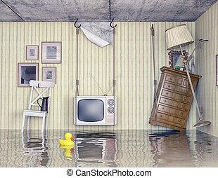 inundado, apartamento, vida