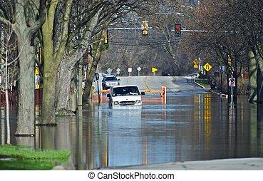inundado, calles de ciudad